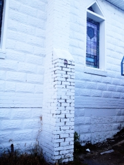 the original bricks on the side of the St. James Holiness Church, founded by my great-great-grandmother Laura in Laurinburg, NC