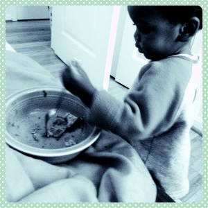 Munchkin insists that Mommy give him his own bowl and utensil, whether or not he intends to eat the food or throw it on the floor.